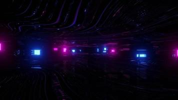 3D illustration of dark cyberspace with neon lights photo