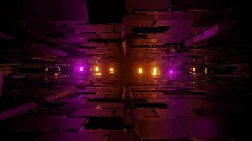 Futuristic 3d illustration of uneven walls between bright lights photo