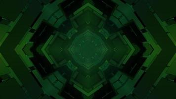 Abstract three dimensional green geometric shapes on black background