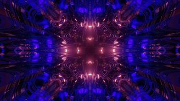 Fractal tunnel with glowing lights 3d illustration photo