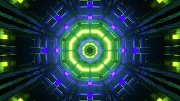 Estructura geométrica futurista con ilustración 3d de iluminación de neón foto