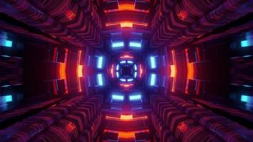 Sci fi underground passage with colorful lights 3d illustration photo