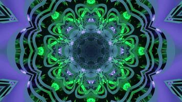 Green and purple ornamental neon pattern 3d illustration photo