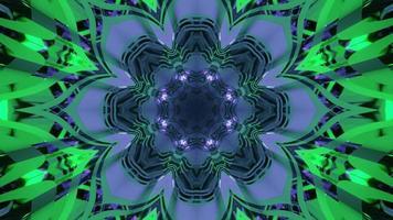 Bright flower kaleidoscope pattern 3d illustration