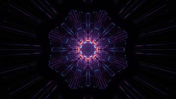 3D illustration of dark space with illuminated fractal flower pattern photo