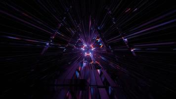 Ilustración 3d de túnel oscuro con figura geométrica abstracta foto