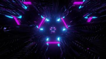 Colorful neon lights in darkness 3d illustration