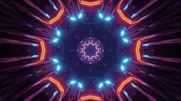 Ilustración 3d de figuras geométricas multicolores que forman un laberinto simétrico foto