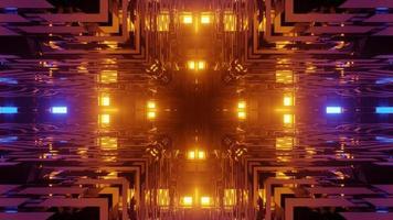 Abstract 3d illustration of geometrical blocks corners forming luminous cross