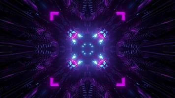 Neon rays in dark tunnel 3d illustration photo