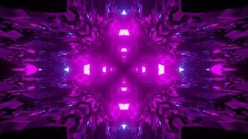 Geometric 3d illustration luminous purple cross