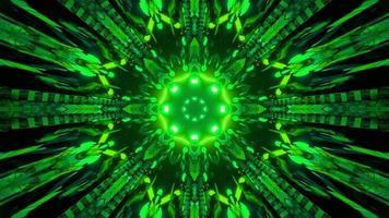 3D illustration of green futuristic illumination in dark tunnel photo