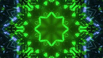 3D illustration of neon illuminated floral pattern in darkness photo