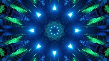 3D illustration of abstract geometric ornaments with blue and green illumination photo