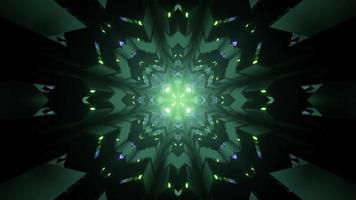 3D illustration of green neon fractal ornament with geometric figures photo