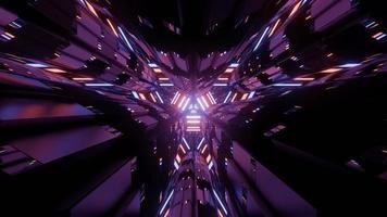 Fondo abstracto de figuras futuristas de color púrpura en la ilustración 3d foto