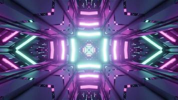 3D illustration of futuristic city with neon illumination photo