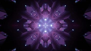3D illustration of kaleidoscope snowflake pattern in darkness photo