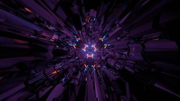 Futuristic cyberspace with purple walls in 3D illustration photo