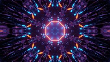 3d illustration of kaleidoscopic neon corridor photo