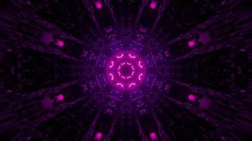 3D illustration of round tunnel with pink illumination photo
