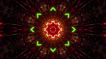 3d illustration of ornamental tunnel with neon lights photo