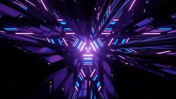 3D illustration of dynamic glowing geometric figures in darkness