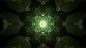 Green neon kaleidoscope background 3d illustration