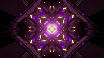 3D illustration of purple and yellow symmetric ornament in darkness