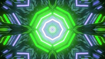 Futuristic pattern with abstract neon lights in 3D illustration photo