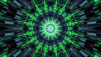 Shiny geometric ornament with green neon rays 3d illustration photo