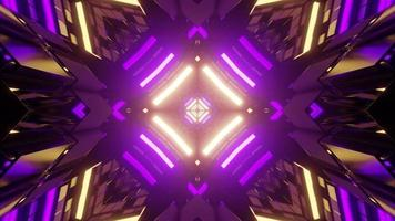 Geometric background with neon lights in 3D illustration photo