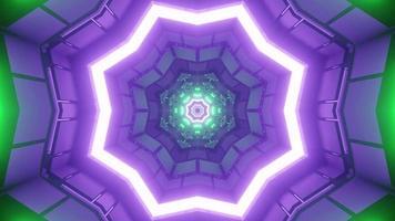 Túnel futurista con iluminación de neón brillante en la ilustración 3d foto
