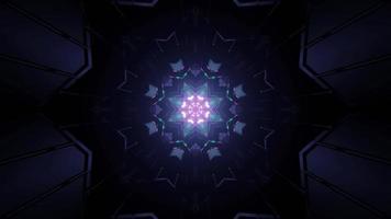 Patrón de caleidoscopio simétrico con figuras luminosas en la ilustración 3d foto