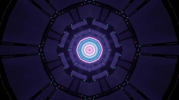 Ilustración 3d de iluminación de neón en el ciberespacio circular foto