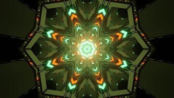 Green and orange lights forming geometric ornament in 3D illustration photo