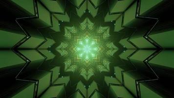 3D illustration of fractal snowflake pattern with luminous geometric figures photo