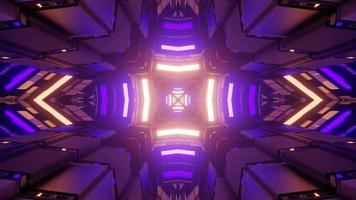 Virtual tunnel with colorful illumination 3d illustration photo