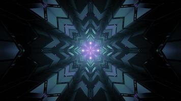Futuristic architecture background with neon illumination 3d illustration photo