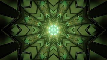 Ilustración 3d de caleidoscopio en bucle con luz de neón verde que se refleja en figuras geométricas foto