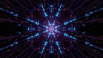 Futuristic geometric neon lights of 3d illustration