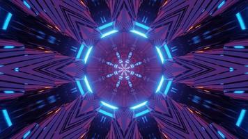 Colorful futuristic sci art neon 3d illustration