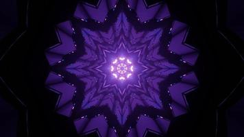 Symmetrical snowflake shaped pattern with glowing lamps in 3D illustration photo