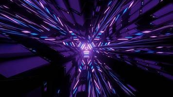 Ilustración 3d de patrón hipnótico con luz de neón en el laberinto oscuro foto