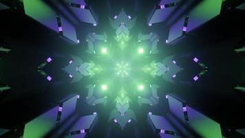Shiny geometric ornaments forming luminous symmetric pattern in 3D illustration photo