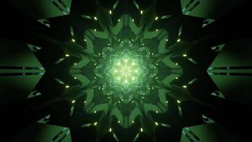 Gleaming green geometric floral ornament 3d illustration photo
