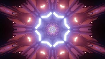 Shiny neon star with geometric ornaments 3d illustration photo