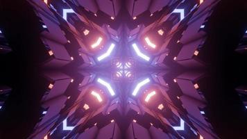 Futuristic 3D illustration of purple abstract ornamental background photo