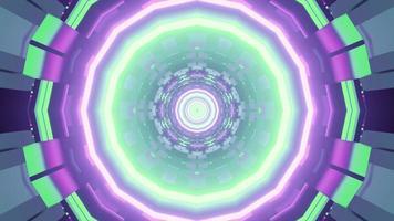 Futuristic circular pattern with neon illumination in 3D illustration photo