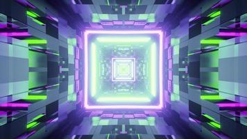 Abstract cyberspace with neon lamps in 3D illustration photo